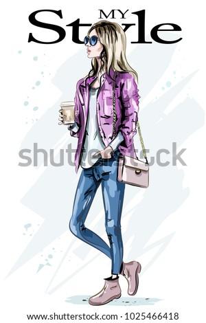 stylish beautiful young woman