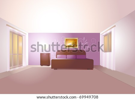 Stylish Bedroom Interior In Pastel Colors. Stock Vector