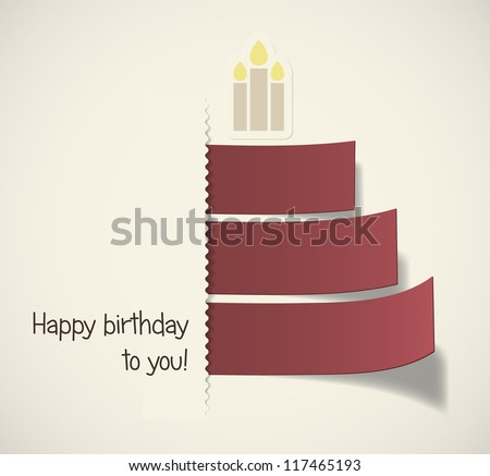 Stylish birthday cake formed by red ribbons. EPS10 vector