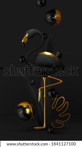 Stylish Black-gold flamingos. Luxurious abstract minimal design. Animal world poster, web banner. Natural background with bird 3d black golden metallic flamingo. Modern vector illustration