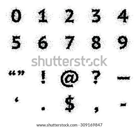 Stylish Black Ink Grunge Uppercase Font Digits And Punctuation