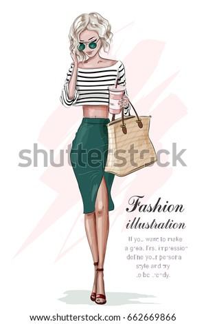 Stylish blonde girl in fashion clothes, with bag and coffee cup. Hand drawn beautiful girl. Fashion woman. Sketch. Vector illustration. - Shutterstock ID 662669866