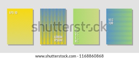 Stylish blue green yellow zig zag banner templates, wavy lines gradient stripes backgrounds for business cover. Curve shapes stripes, zig zag edge lines halftone texture gradient banners vector set. #1168860868