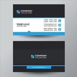 Stylish blue wave business card vector design