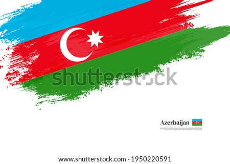 Stylish brush flag of Azerbaijan. Happy independence day of Azerbaijan with grungy flag background