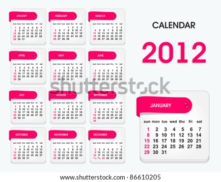 stylish calendar for 2012, all elements are in separate layers and grouped, easy to edit