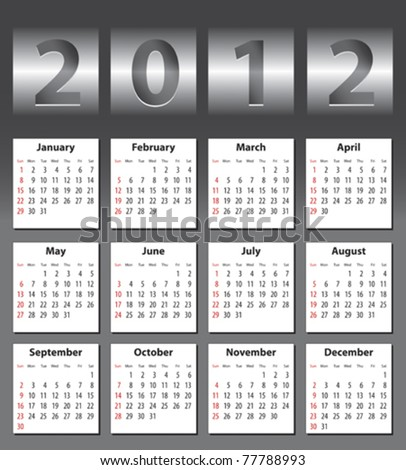Stylish calendar with metallic drum effect for 2012. Sundays first