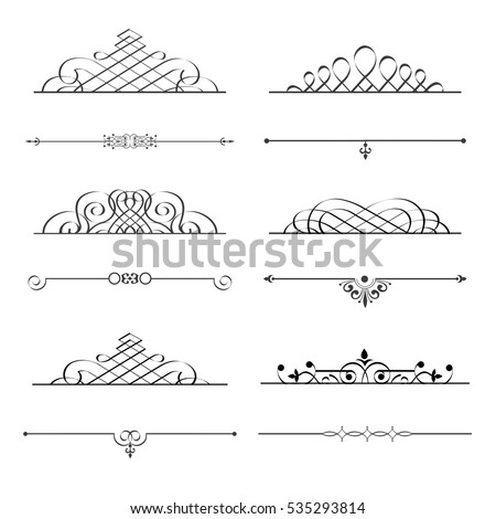 Stylish calligraphic design elements for design. Vector set