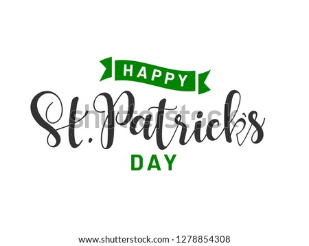 Stylish calligraphy of Happy St. Patrick's Day on white background. Can be used as greeting card design.