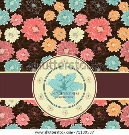 Stylish Card On Vintage  Seamless Background With Hand Drawn Elegant Flowers