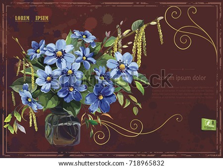 Stylish Card With Anemones For Birthday Design Elegance Template Bouquet Of Spring Blue Flowers