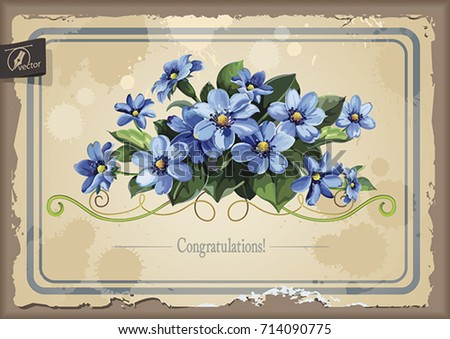 stylish card with anemones for