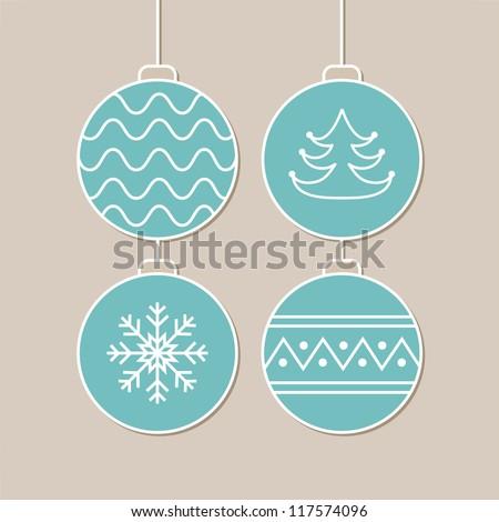 Stylish card with blue christmas balls. Vector illustration