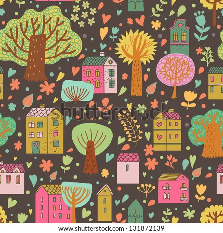 Stylish cartoon urban seamless pattern. Cute houses and trees on bright background in vector.  Seamless pattern can be used for wallpaper, pattern fills, web page background, surface textures.