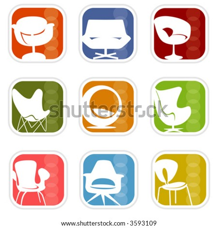 Stylish chair icons with a retro flavor—very mid-century modern; Easy-edit layered vector art. All elements whole so you can move them around.