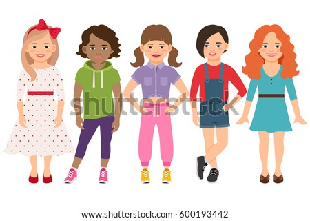 stylish child girls vector