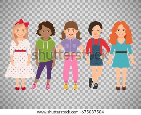 stylish child girls vector