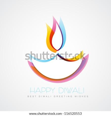 stylish colorful diwali diya isolated on white background - stock vector