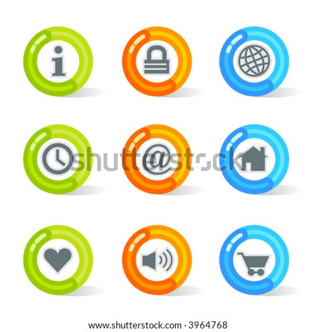 Stylish colorful gel Icons with web symbols; easy edit layered files.