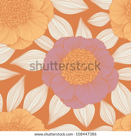 Stylish colorful vector floral pattern with beautiful flowers