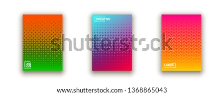 Stylish colorfull dots point banner templates, points gradient backgrounds for business cover. Curve shapes dot edge halftone texture gradient banners set. #1368865043