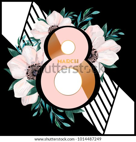 Stylish composition for women's day. Watercolor flowers on a black background. Postcard, poster, invitation, cover, elements for a woman's day or for a wedding.