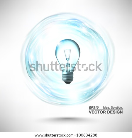 stylish conceptual digital light bulb idea design - stock vector