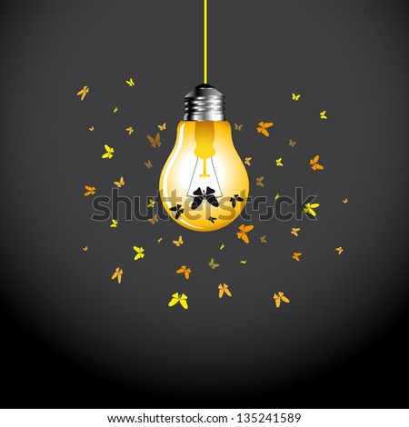 stylish conceptual digital light bulb idea design with butterflies vector - Idea Design