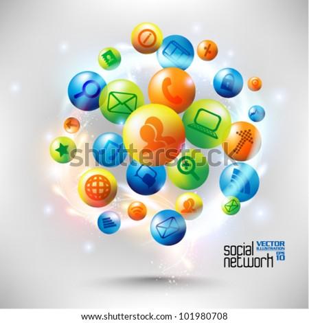 stylish conceptual social networking vector design
