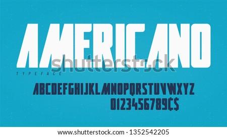 Stylish condensed headline typeface, alphabet, font. Vector illustration.