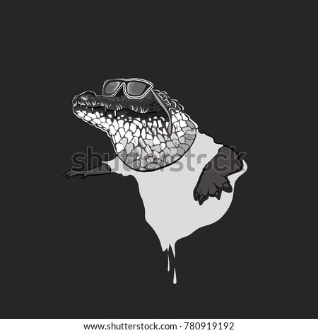 Stylish crocodile vector, annimal illustration, cool crocodile wearing glasses and blue t-shirt, funny crocodile design