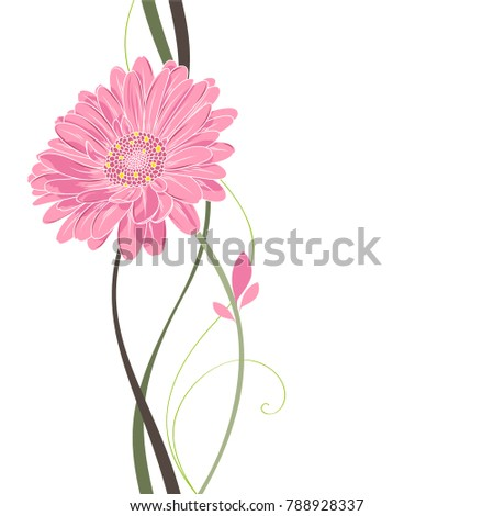 Stylish cute hand-drawn background with  camomile  flower. Element for postcards, invitations, design and creativity.