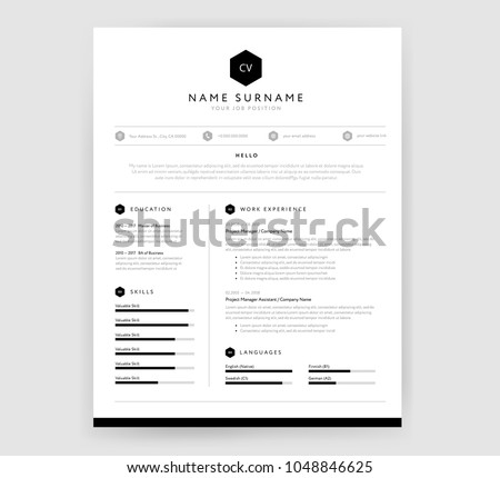 Stylish CV resume template design for a creative person - vector minimalist sample - black and white infographics