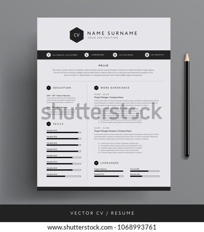 Stylish CV Resume template sample - black and white minimal design vector