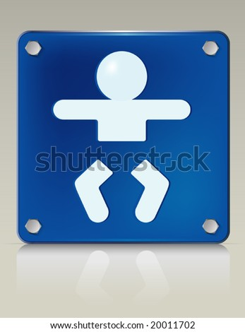 Stylish 3D illustration of baby changing symbol on a restroom sign. Easy-edit file.