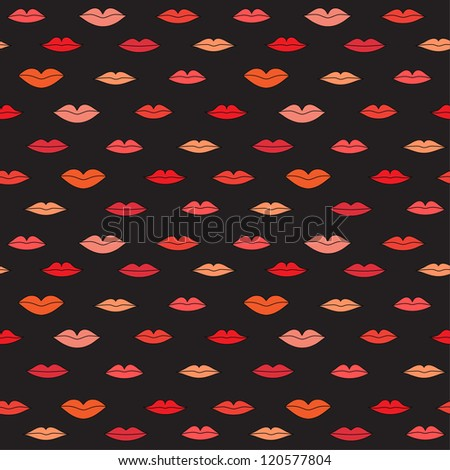 Stylish dark pattern with color lips. Vector illustration