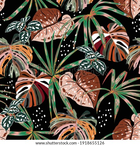 Stylish Dark seamless pattern of hand drawnTropical forest with many kind of exotic plants and leaves in vector brush style,Design for fashion fabric,web,wallpaper,and all prints on black