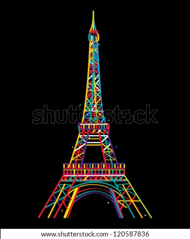 Stylish design of Eiffel tower isolated and grouped objects on black