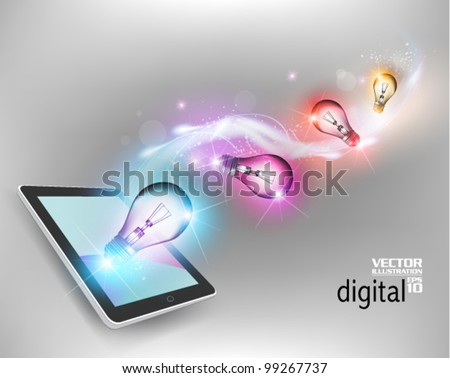 stylish digital tablet with light bulb conceptual design