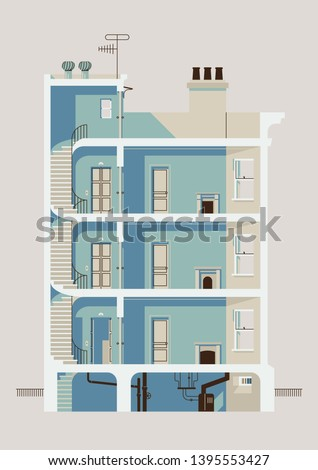 Stylish downtown residential three story building cross section illustration with stairwell, elevator, apartment room interiors with windows and fireplaces, roof access, chimneys and basement Stock photo ©