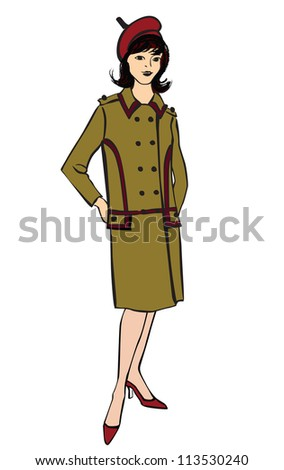 Stylish fashion dressed girls (1950's 1960's style): Retro fashion party. vintage fashion silhouettes from 60s. - stock vector