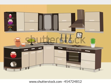 Superior Stylish Fashion Graphic Kitchen . Designer Accessories. Flat Style Vector  Illustration.