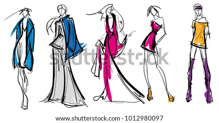 Stylish fashion models. Pretty young girls. Fashion girls Sketch