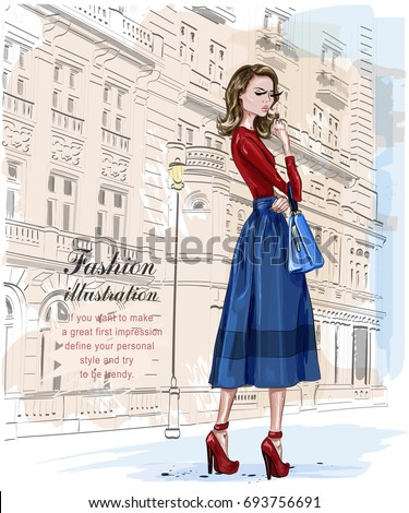 Stylish fashion woman with architectural background. Stylish beautiful young woman. Hand drawn girl with bag. Sketch. Vector illustration.