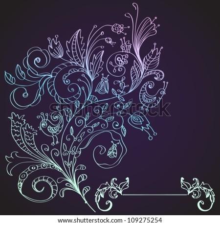 Stylish floral background, hand drawn flower, vector illustration
