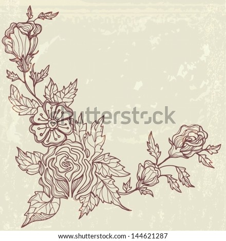 Stylish floral background, hand drawn flowers, illustration, VECTOR