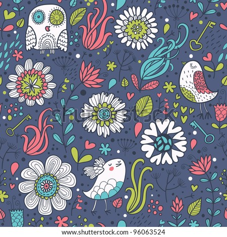 Stylish floral seamless pattern in modern style