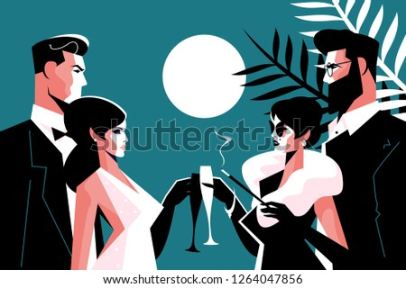 Stylish forties concept party vector illustration. Fashion man and woman in stylish clothes with glasses of champagne having fun time together flat style concept