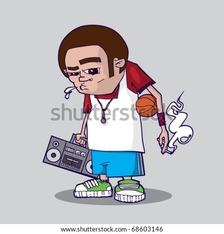 Stylish funky kid with his ball and tape recorder. Vector