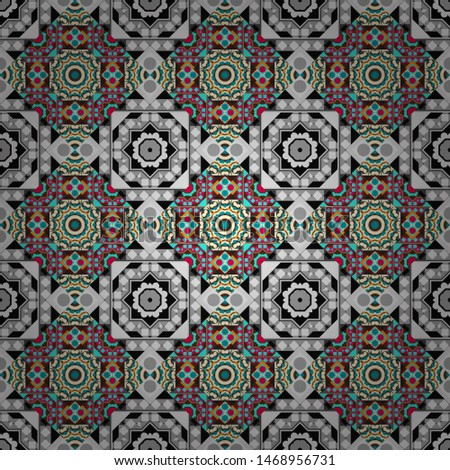 Stylish geometric seamless pattern. Modern vector linear ornament. Regularly repeating tiles grids with gray, blue and brown dots, polygons, hexagons, rhombuses, difficult polygonal outline shapes.